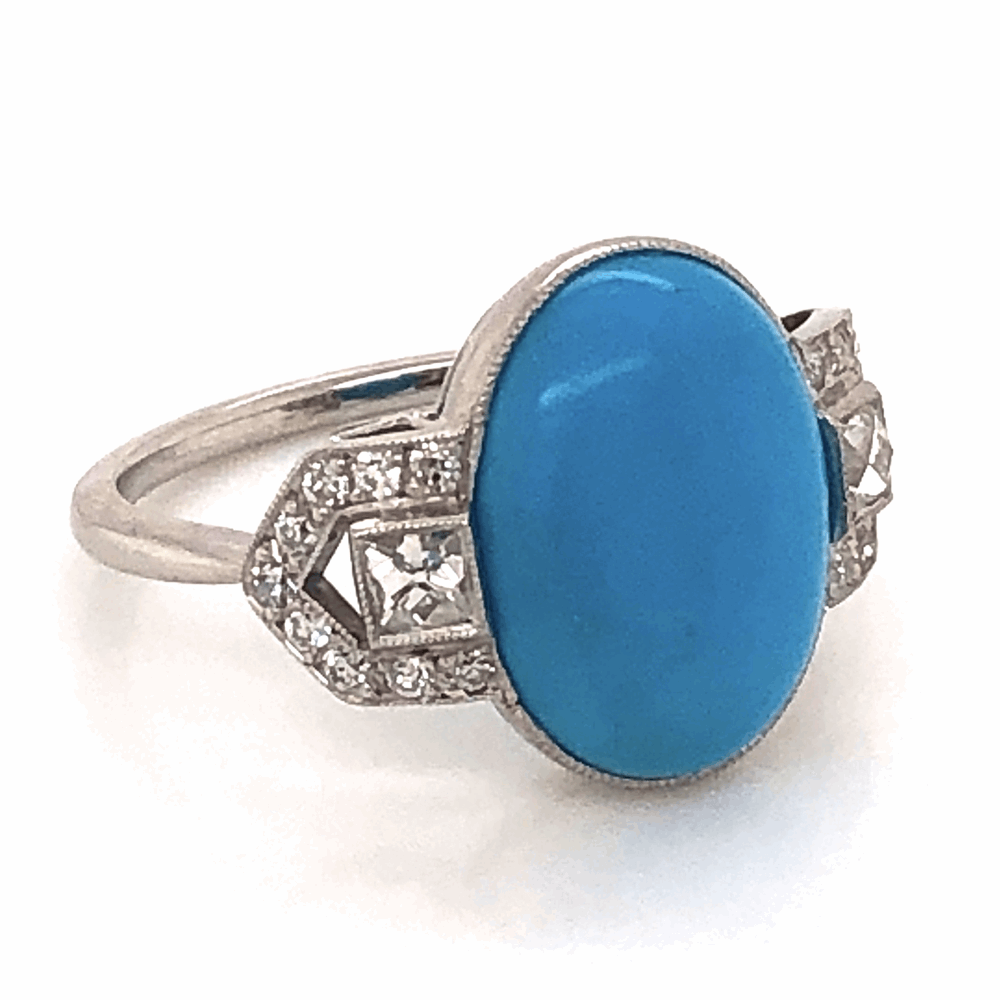 Image 2 for Platinum 3ct Oval Cabochon Turquoise and .50tcw Diamond ring, 4.5g, s7