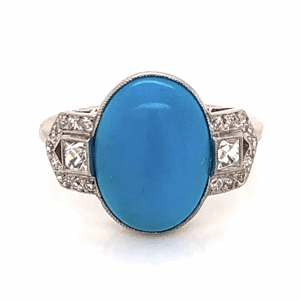 Platinum 3ct Oval Cabochon Turquoise and .50tcw Diamond ring, 4.5g, s7