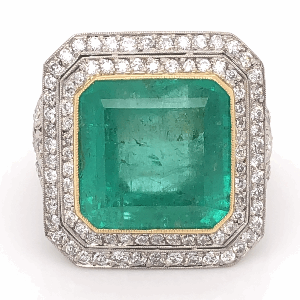 Platinum & 18K Yellow Gold 16.91ct Square Emerald & 1.52tcw Diamond Ring 18.1g, s7