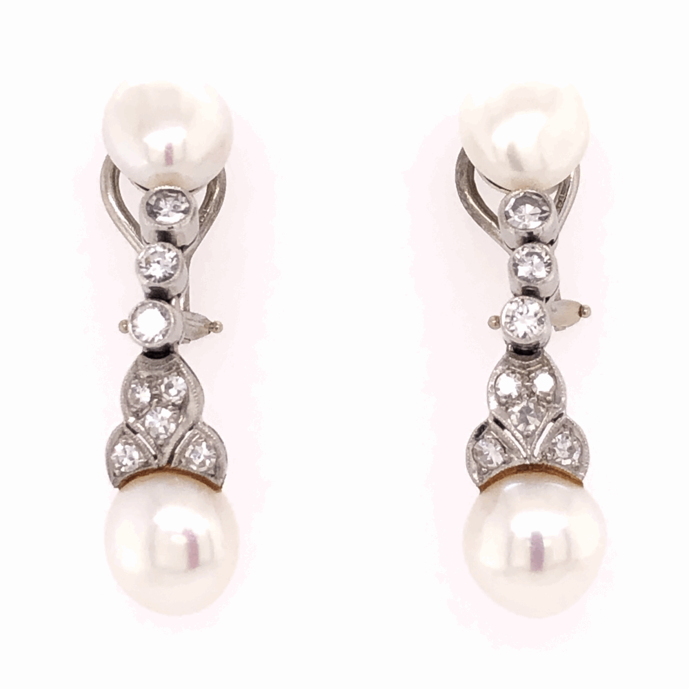 Platinum Pearl & Diamond Drop Earrings .74tcw 8.1g