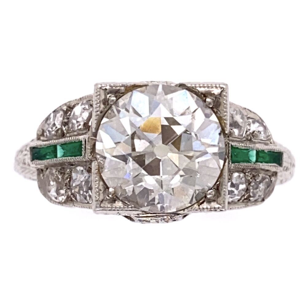 Platinum Art Deco 2.10ct OEC Diamond Ring, .36tcw side diamond, Emeralds, 4.8g, s6.5