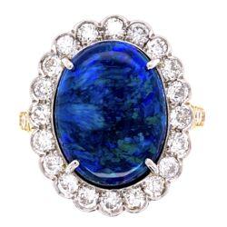 Closeup photo of Platinum on 18K Yellow Gold 6.00ct Black Opal & 1.10tcw Diamond Ring 7.5g, s7