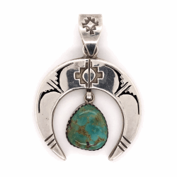 """Closeup photo of 925 Sterling Vintage Native Turquoise Pendant signed NM C 11.7g, 1.75"""""""