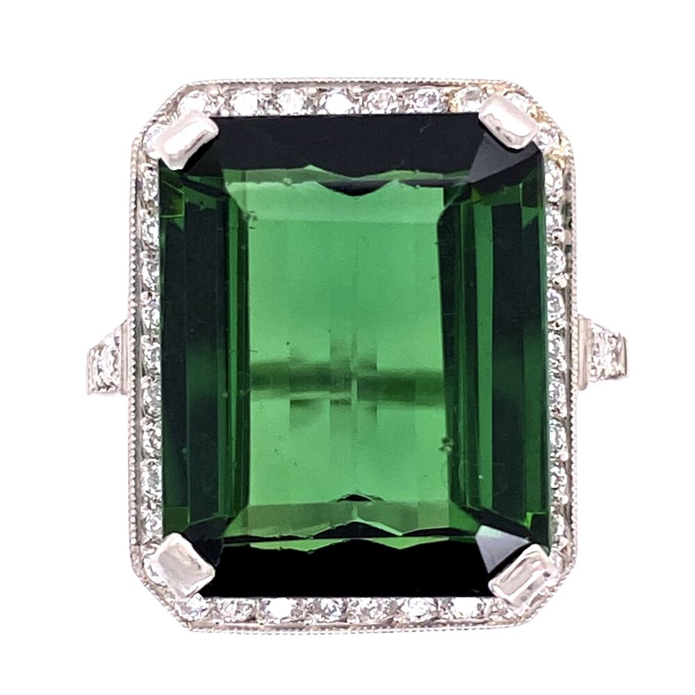 Image 2 for Platinum 1950's 13.65ct Forest Green Emerald Cut Tourmaline & .64tcw Diamond Ring, s7