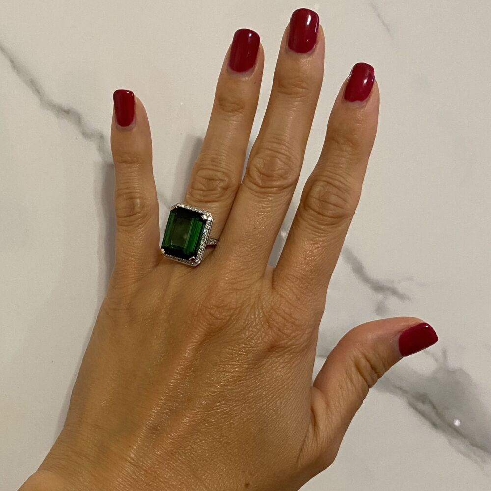 Platinum 1950's 13.65ct Forest Green Emerald Cut Tourmaline & .64tcw Diamond Ring, s7