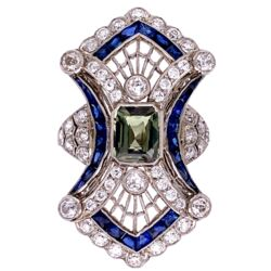 Closeup photo of Platinum Art Deco 1.51ct Natural Alexandrite, 1.59tcw Diamonds & 1.05tcw Sapphire Ring 11.7g, s7.25