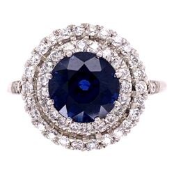 Closeup photo of Platinum Double Halo .75tcw Diamond with 3.23ct Round Natural Sapphire Ring 5.8g, s7