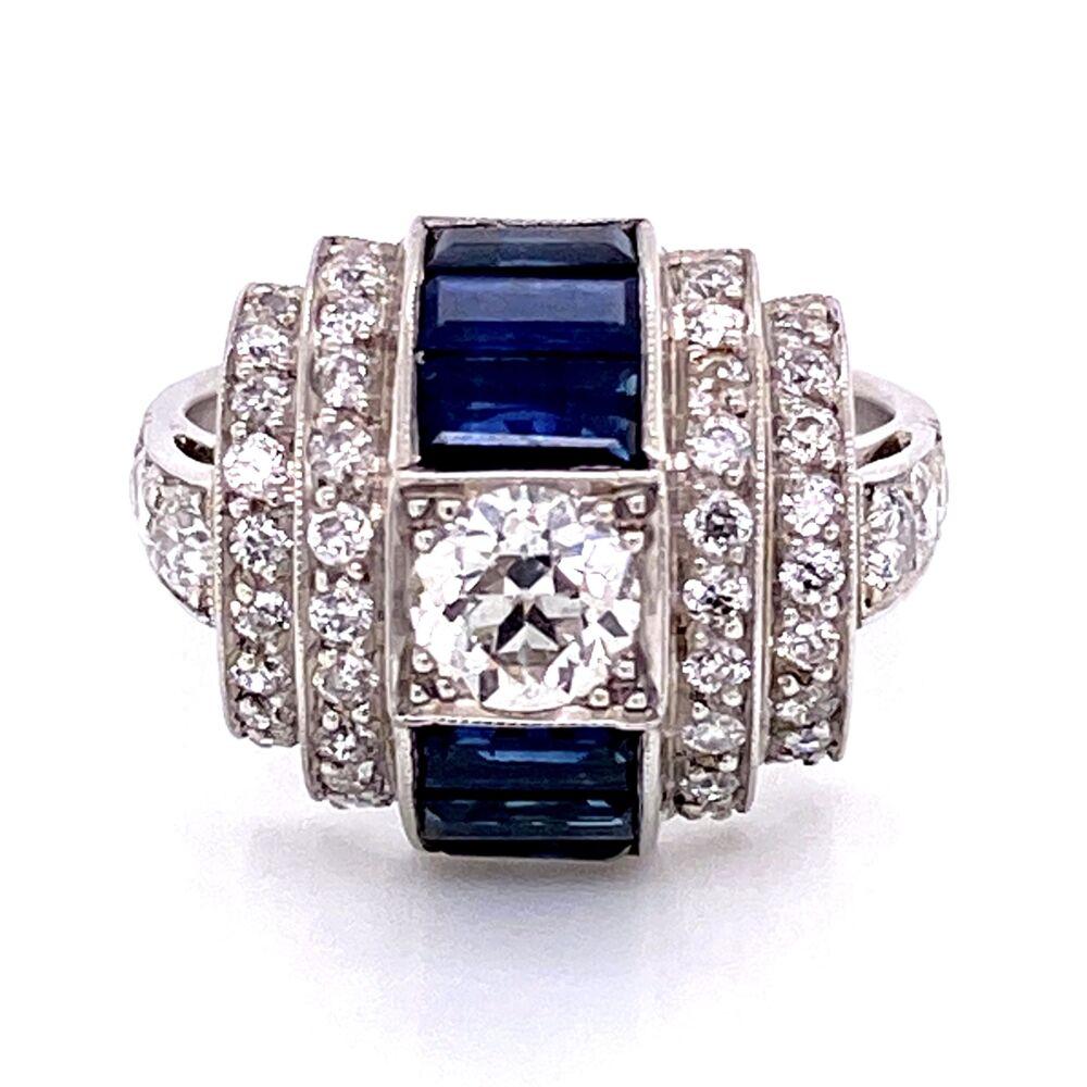 Image 2 for Platinum Art Deco Dome .55ct Old European Cut Diamond, 1.10tcw Baguette Sapphire & .60tcw side Diamond Ring 8.0g, s6.5