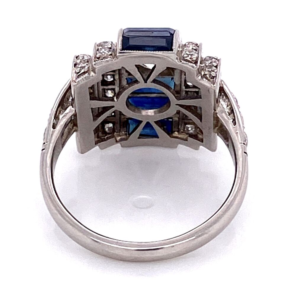 Platinum Art Deco Dome .55ct Old European Cut Diamond, 1.10tcw Baguette Sapphire & .60tcw side Diamond Ring 8.0g, s6.5