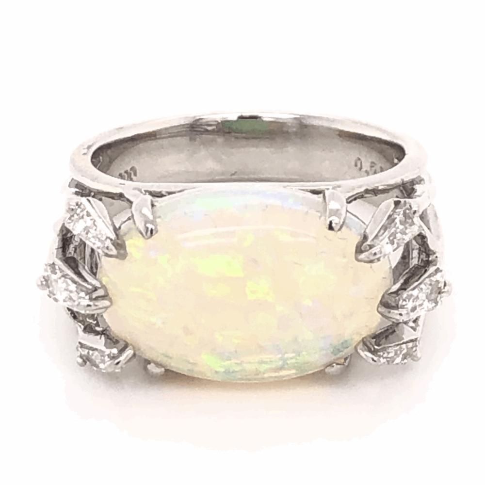 Image 2 for Platinum 5.00ct Australian Opal & .51tcw Diamond Ring c1970, s6.5