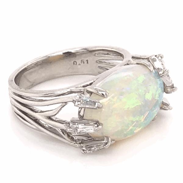 Closeup photo of Platinum 5.00ct Australian Opal & .51tcw Diamond Ring c1970, s6.5