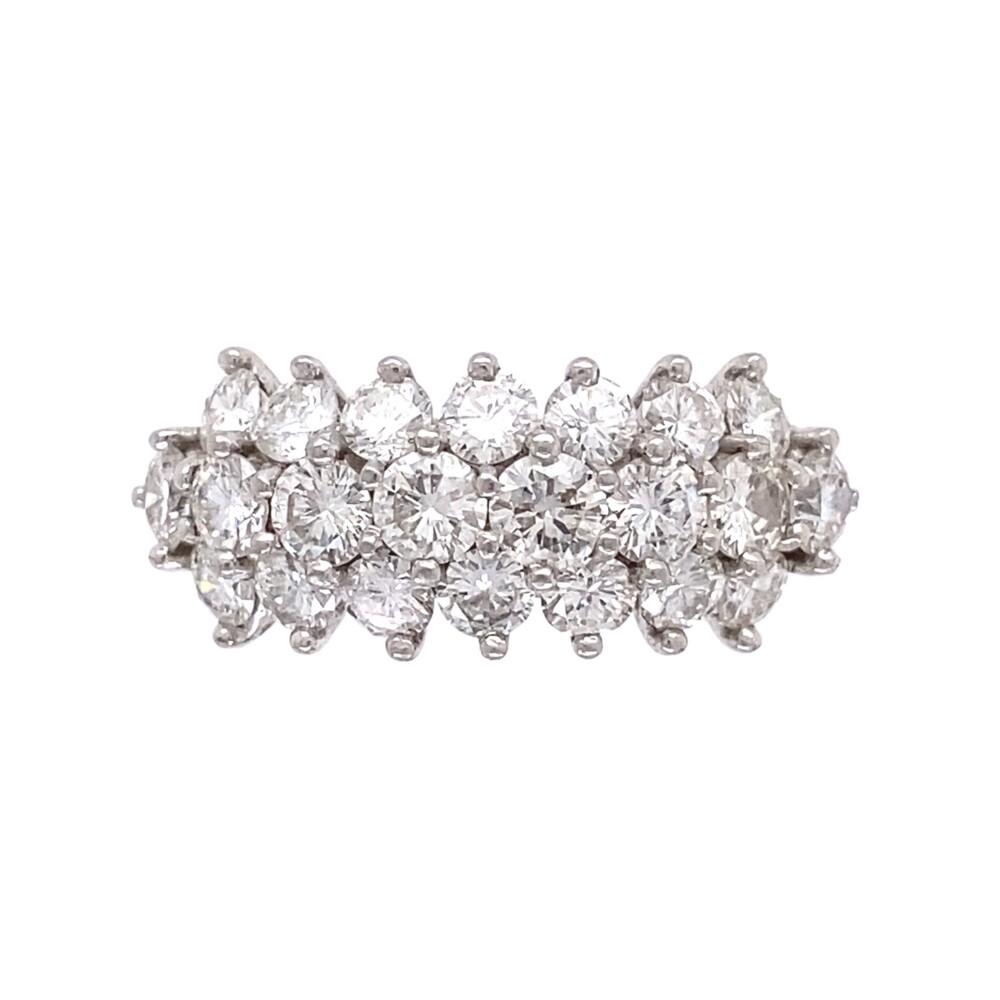 Platinum 3 row 2.35tcw Diamond Band Ring c1960, s8.5