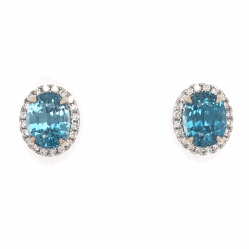Closeup photo of 14K White Gold 7.45tcw Blue Zircon Stud Earrings with .39tcw Diamonds