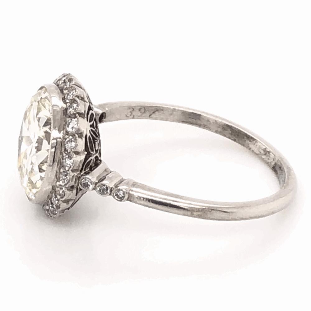 Image 2 for Platinum 1950's 3.97ct Round Brilliant Diamond & .24tcw side Diamond Ring with Milgrain, s7.5