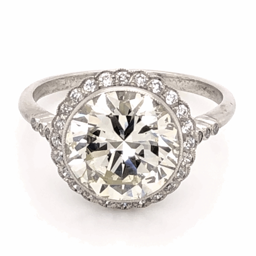 Platinum 1950's 3.97ct Round Brilliant Diamond & .24tcw side Diamond Ring with Milgrain, s7.5