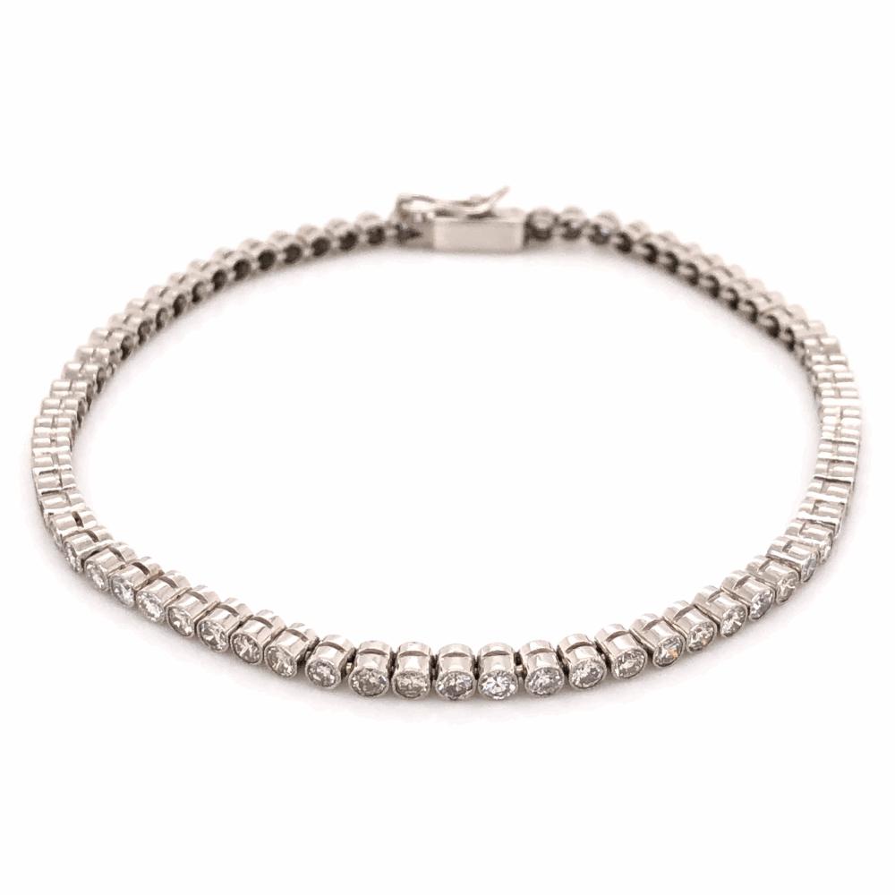 """Platinum Art Deco Bezel Set Line Bracelet 2.25tcw, 7"""" Long"""