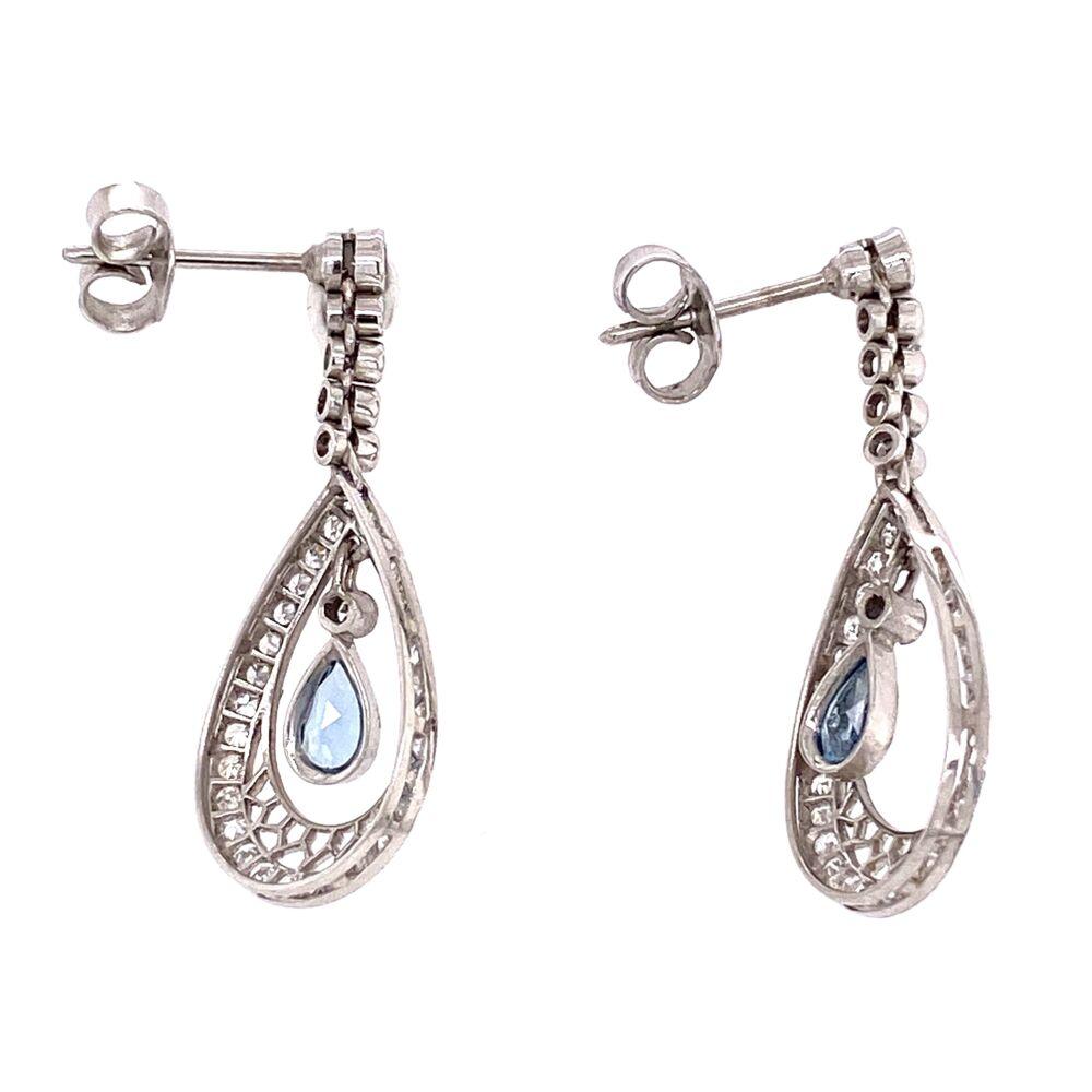 Image 2 for Platinum Art Deco .60tcw Pear Aquamarine & 1.50tcw Diamond Earrings