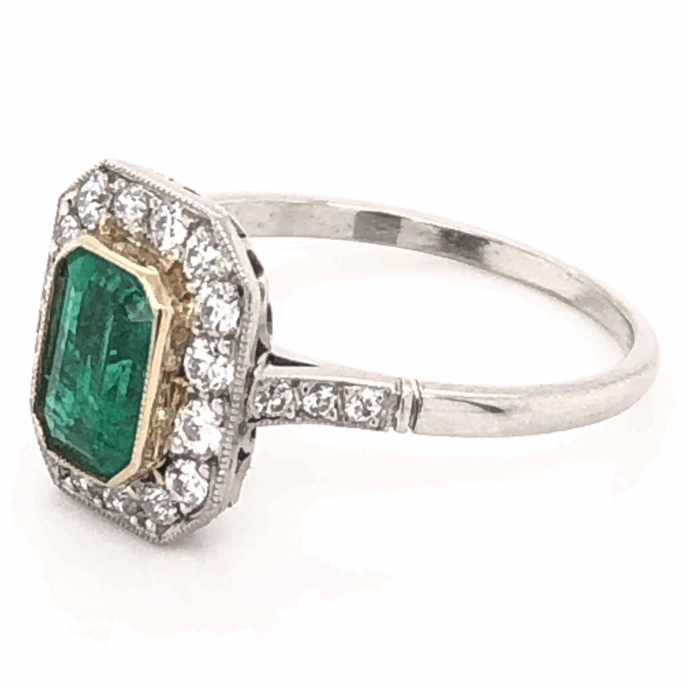 Image 2 for Platinum Art Deco .85ct Emerald Cut Emerald Ring with .46tcw Diamonds, size 7