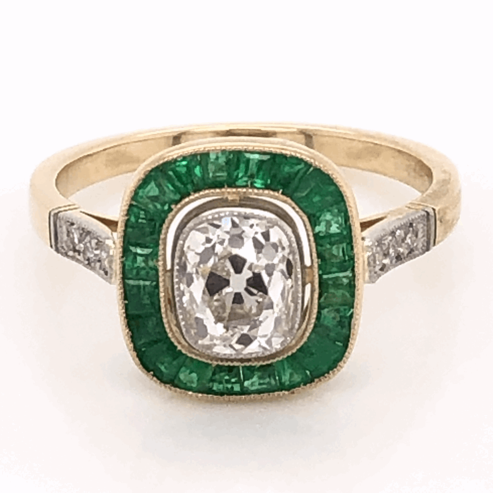 Image 2 for 18K Yellow Gold Victorian .97ct Antique Cushion & 1.40tcw Emerald RIng, s7