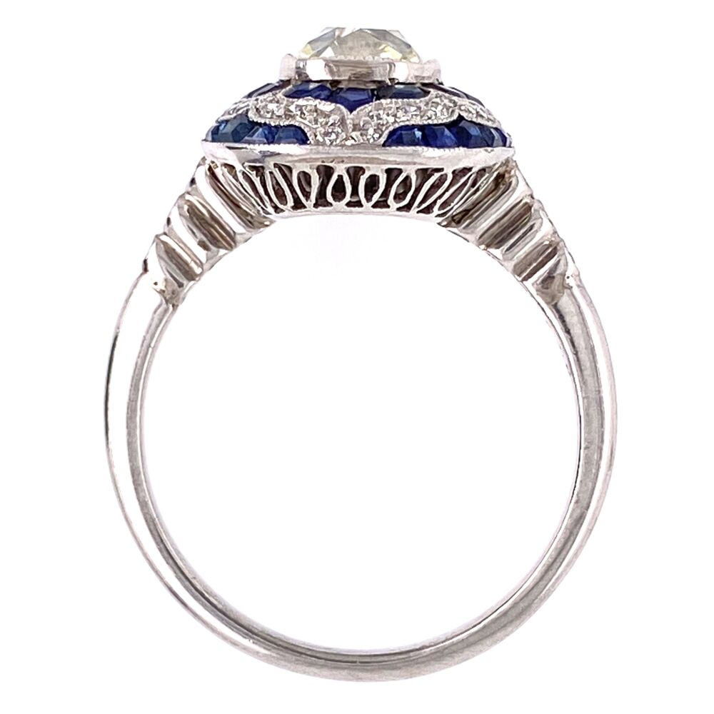 Image 7 for Platinum Art Deco 1.16ct Antique Rectangular Cushion Diamond & 1.55tcw Sapphire Ring, s7