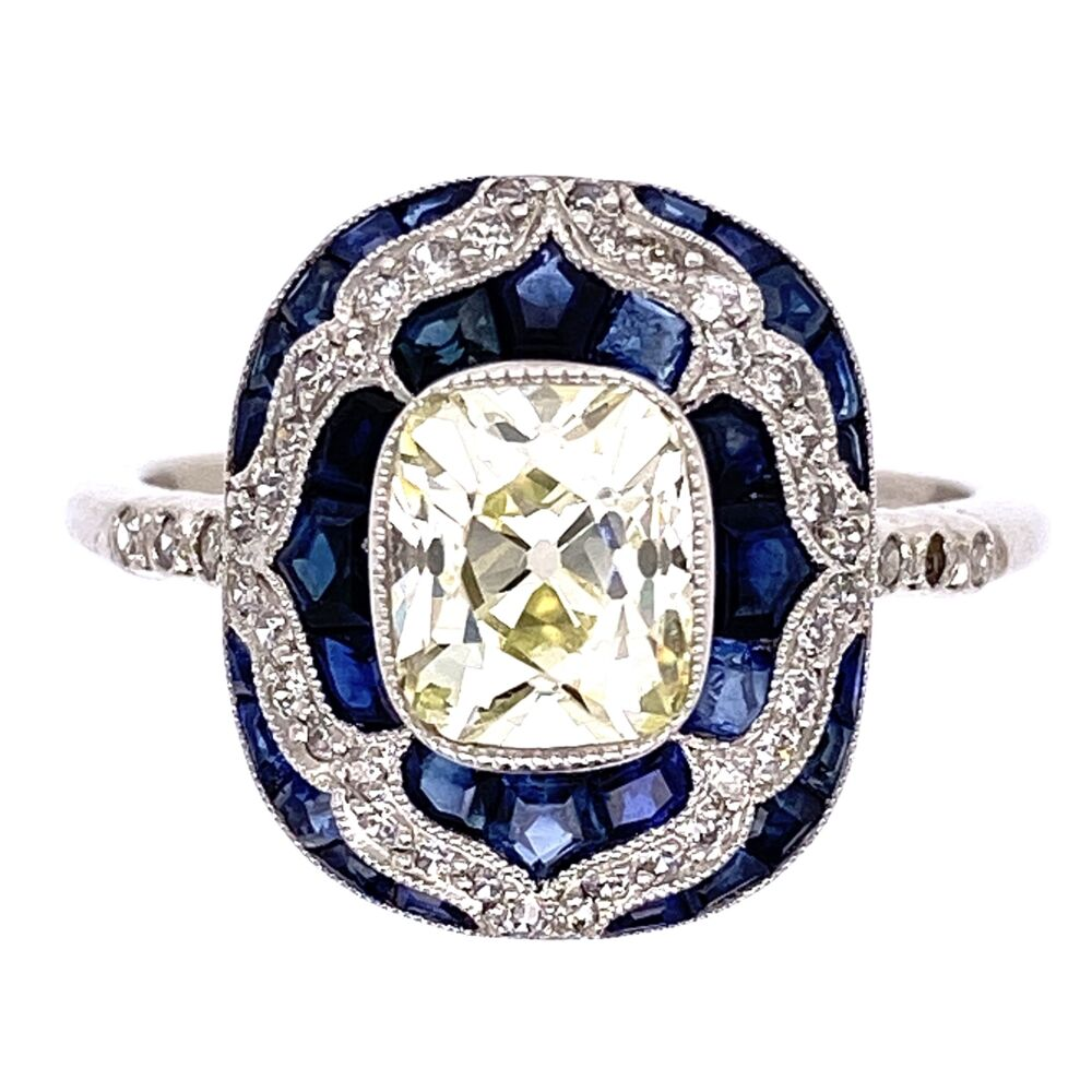 Platinum Art Deco 1.16ct Antique Rectangular Cushion Diamond & 1.55tcw Sapphire Ring, s7
