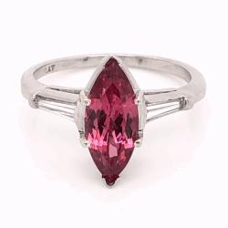 Closeup photo of Platinum RARE 2.35ct Marquis Pink Spinel & .24tcw Diamond Ring c1960's, s6.50