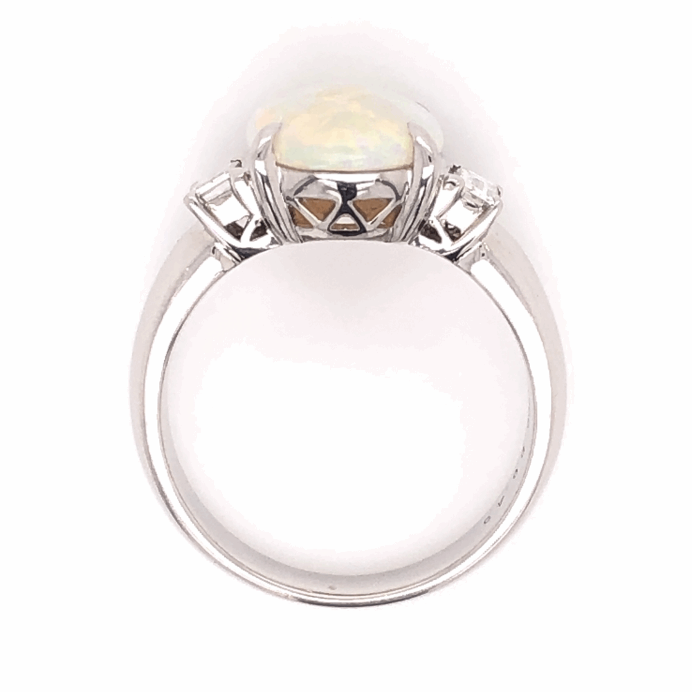 Image 2 for Platinum 4.00ct Oval White Opal & .43tcw Diamond Ring 10.9g, s8.5