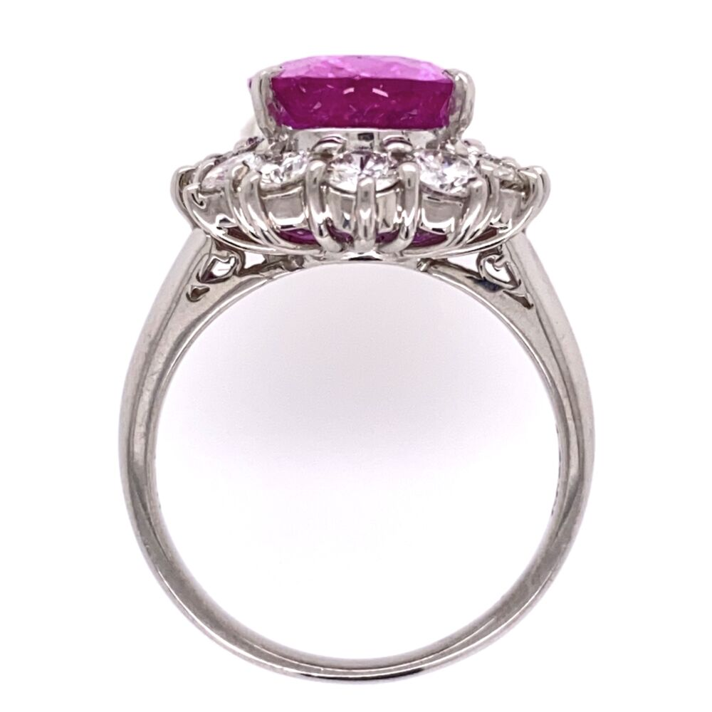 Image 2 for Platinum 4.95ct Oval Pink Sapphire & 1.23tcw Diamond Halo Ring 8.9g, s6