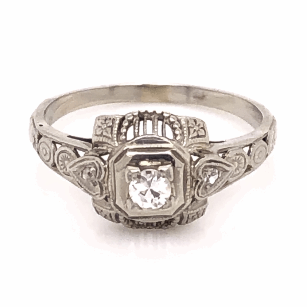 18K White Gold Art Deco Filigree Ring with .13ct Antique Diamond, s6.5