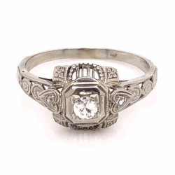 Closeup photo of 18K White Gold Art Deco Filigree Ring with .13ct Antique Diamond, s6.5