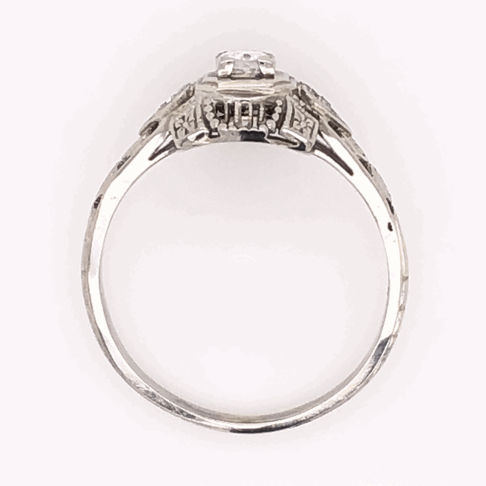 Image 2 for 18K White Gold Art Deco Filigree Ring with .13ct Antique Diamond, s6.5