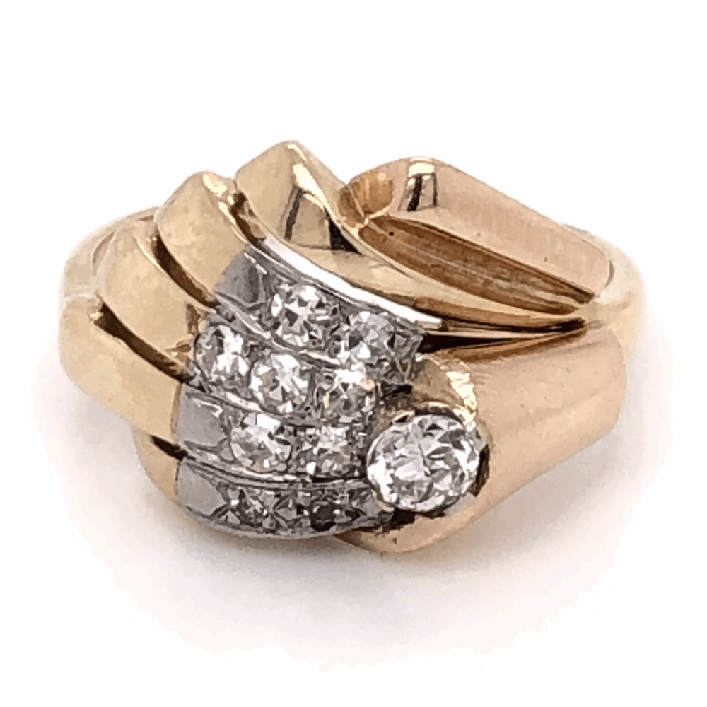 14K Yellow Gold Retro .52tcw Diamond Spray Ring, s6.5