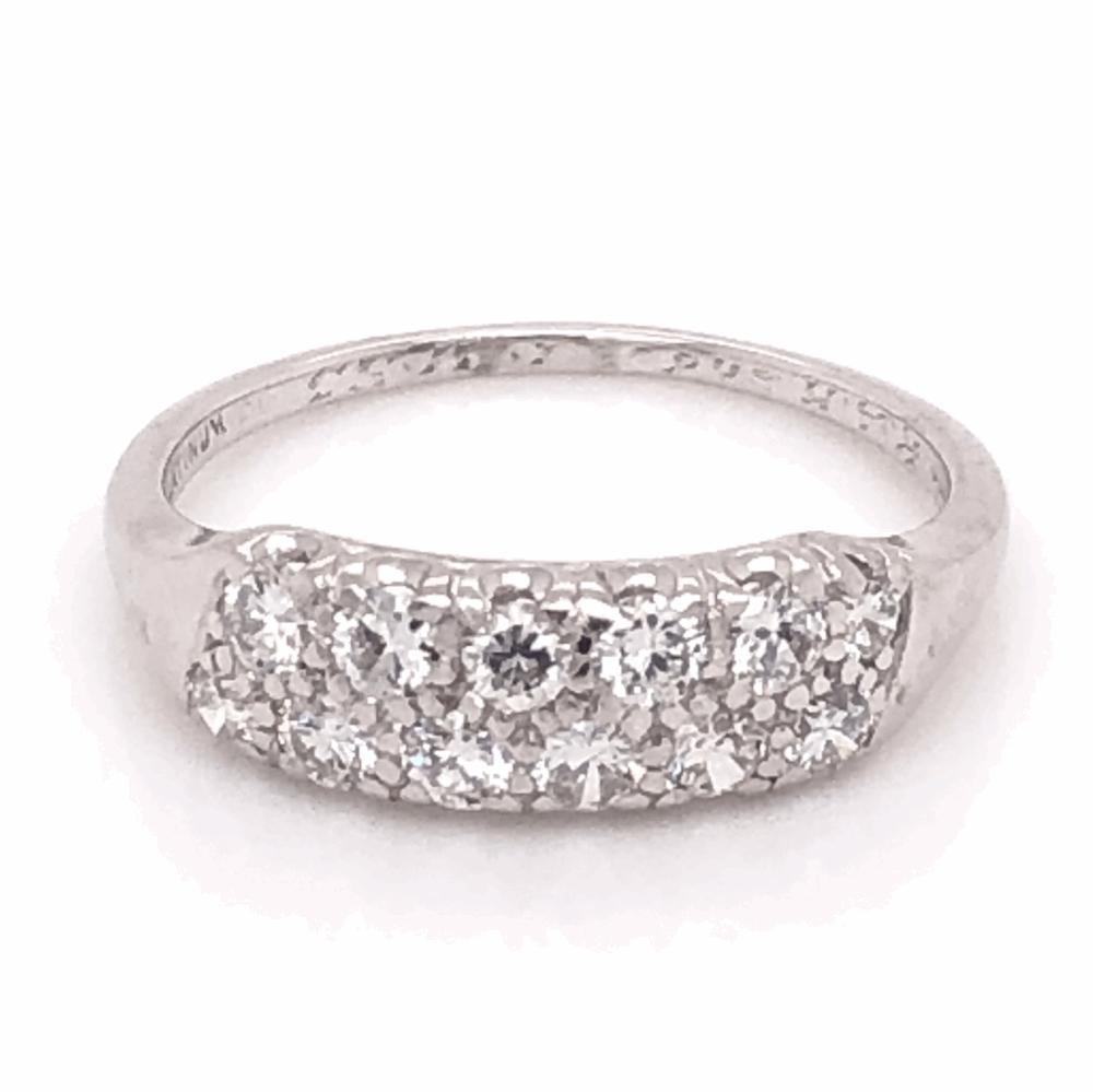 Platinum 1950's 2 Row Third-Way Diamond Band Ring .48tcw, s6.75