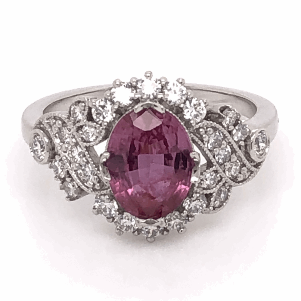 Platinum 1.81ct  Oval Pink Sapphire GIA lab report & .48tcw Diamond Ring, size 6.5