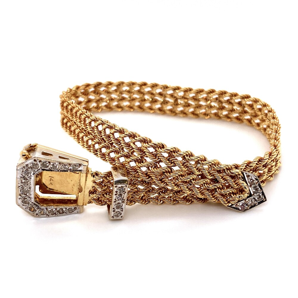 Image 2 for 14K Yellow Gold Retro Buckle Diamond Bracelet .55tcw, 22.1g