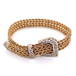 Closeup photo of 14K Yellow Gold Retro Buckle Diamond Bracelet .55tcw, 22.1g