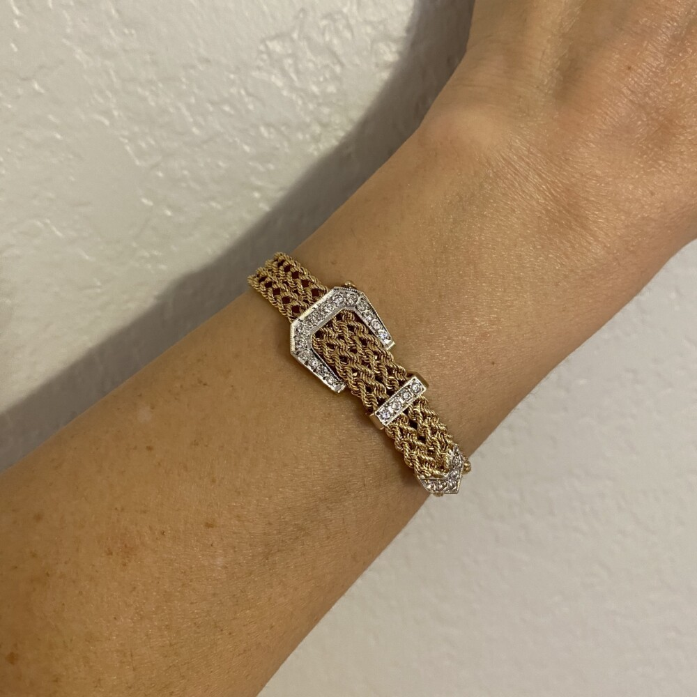 14K Yellow Gold Retro Buckle Diamond Bracelet .55tcw, 22.1g