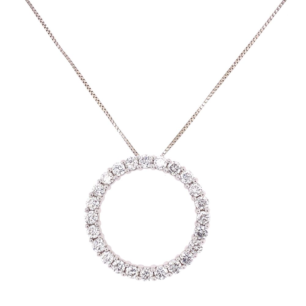 "14K White Gold Open Circle Diamond Necklace 2.40tcw, 1"" Diameter,  20"" Chain"