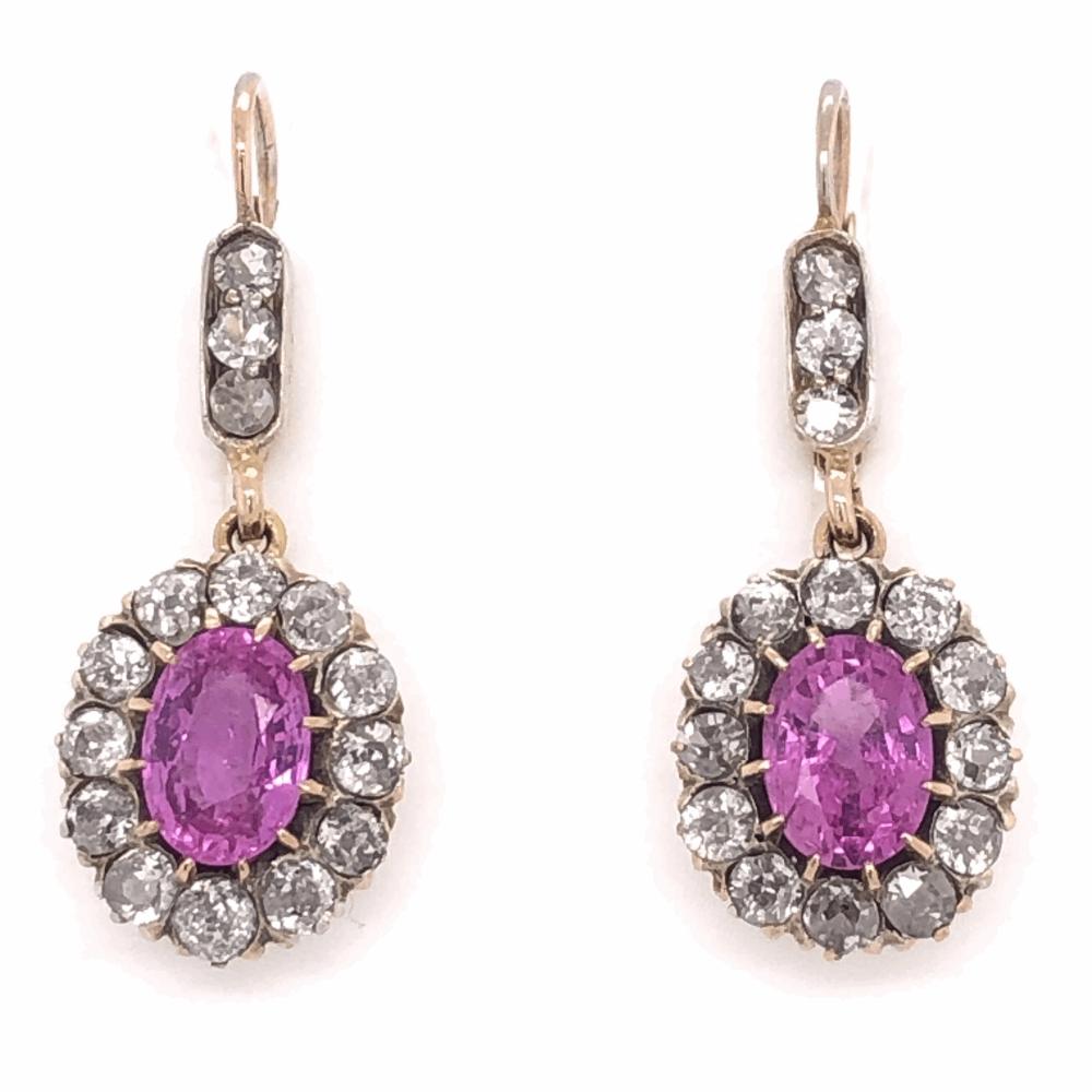 "14K Yellow Gold Victorian 3.46tcw Oval Pink Sapphire & 1.20tcw Diamonds Earrings, 1.25"" Tall"