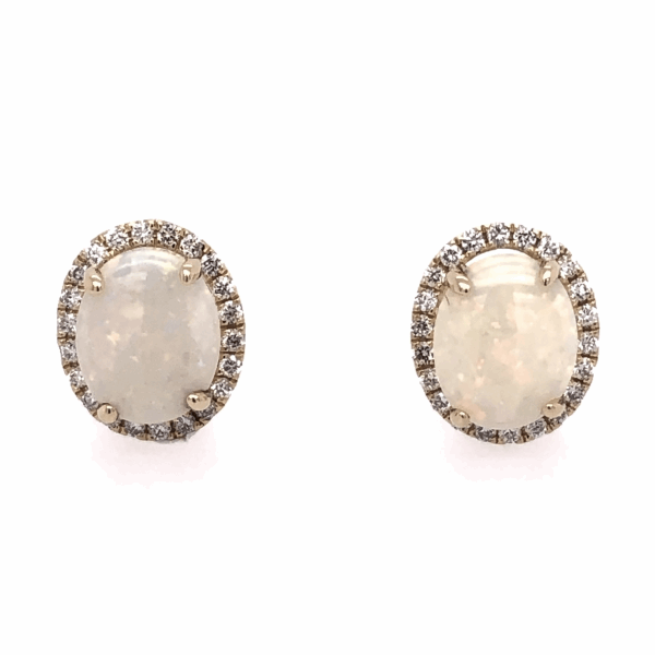 Closeup photo of 14K Yellow Gold 3.69tcw Opal Stud Earrings with .43tcw Diamonds 13x11mm