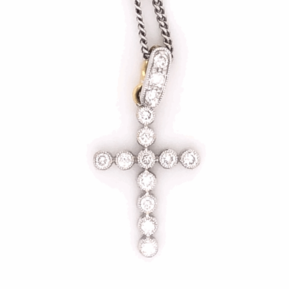 "Image 2 for 18K, 14K White & Yellow Gold 2 tone Cross Necklace .25tcw 18"" Chain"