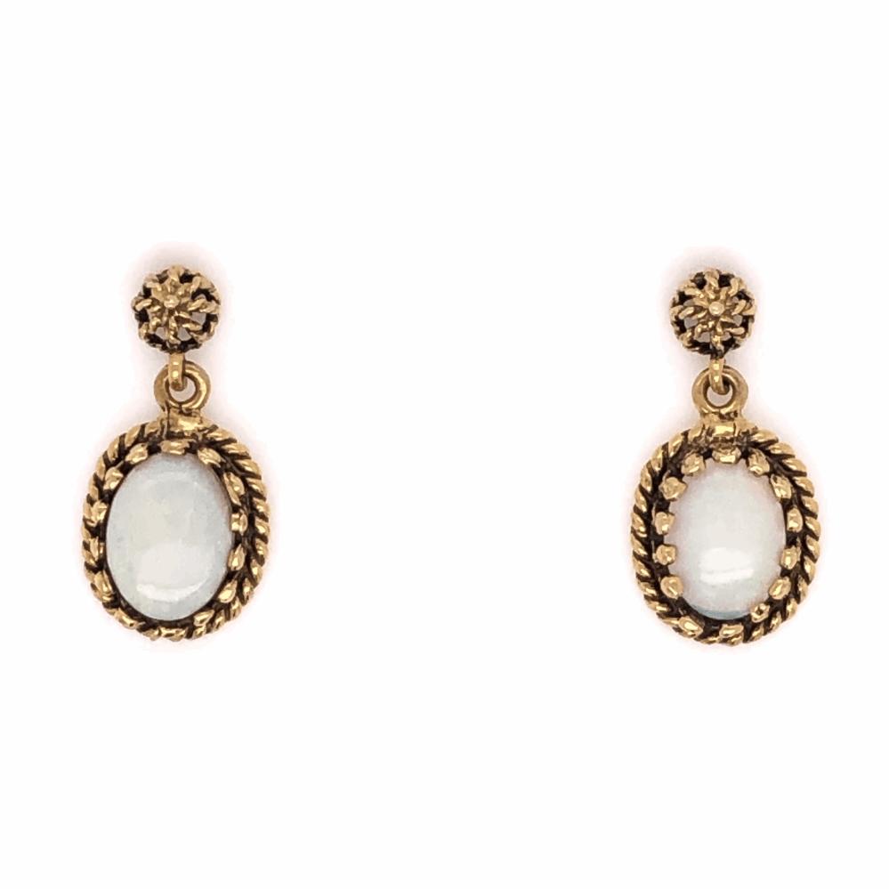 "14K Yellow Gold Opal Drop Earrings  1.50tcw 2.4g, .75"" tall"