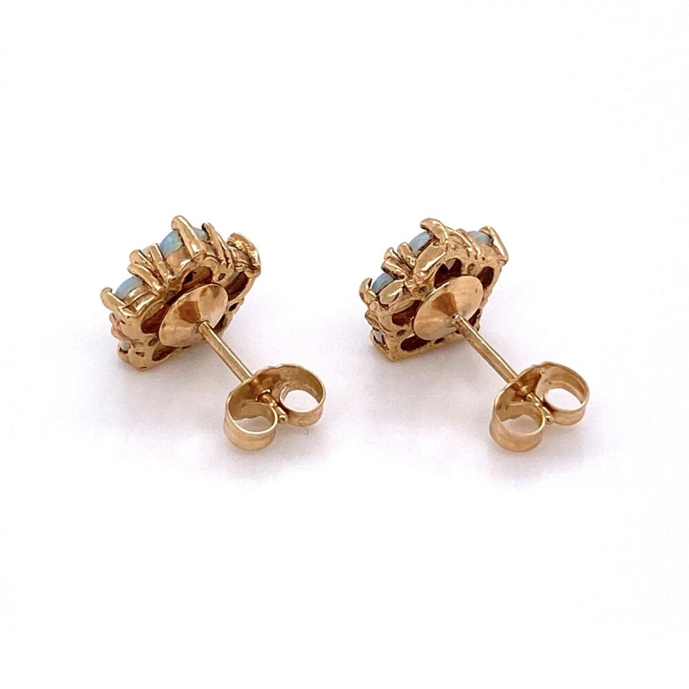 "14K Yellow Gold Opal Cluster Earrings, 12 Opal are 1.10tcw 2.5g, 3/8"" Diameter"
