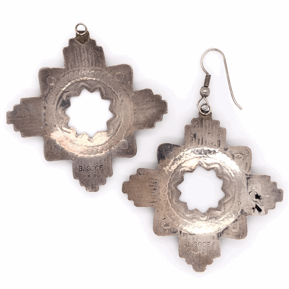 """Image 2 for 925 Sterling Vintage Native HOPI Cross Earrings 10.6g, 2"""" tall without hook"""