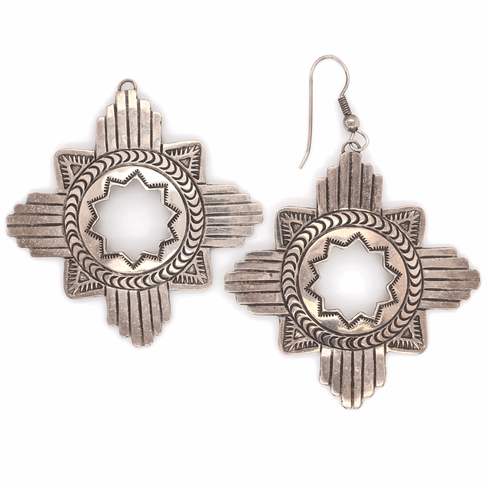 """925 Sterling Vintage Native HOPI Cross Earrings 10.6g, 2"""" tall without hook"""