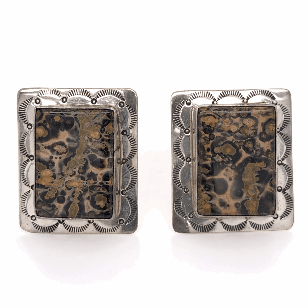 925 Sterling Vintage Native Rectangular Agate Earrings 19.6g, 1 1/3x 1 1/8""