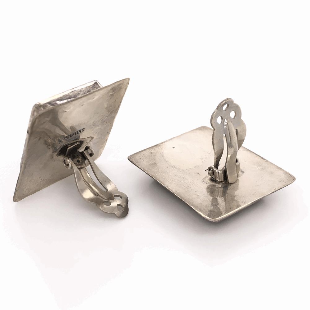 "Image 2 for 925 Sterling Vintage Native Rectangular Agate Earrings 19.6g, 1 1/3x 1 1/8"""