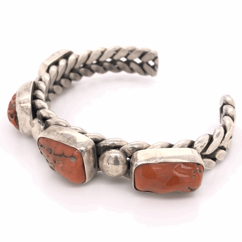 """Image 2 for 925 Sterling Vintage Mens Native NAVAJO 4 Coral Nuggett Cuff MGD 94.2g, 8.5"""""""