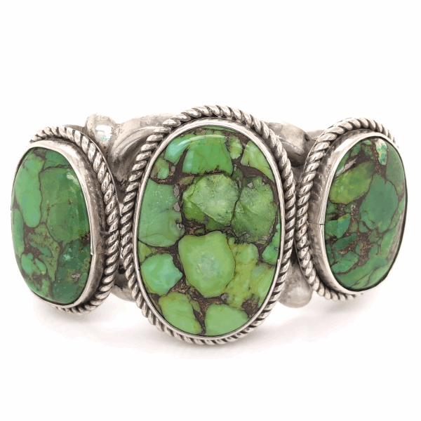 Closeup photo of 925 Sterling Vintage Native 3 Green Turquoise Cuff
