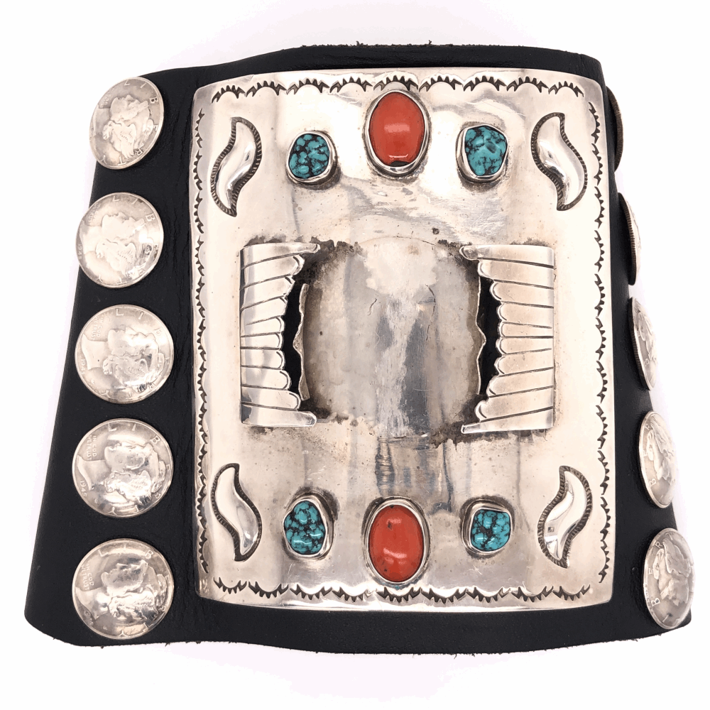 """925 Sterling & Leather Vintage Mens Native Cuff, Silver Dimes, Coral & Turquoise 224.5g, 8.5"""" Wrist"""